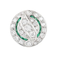 Filigree Platinum with Emeralds and Diamonds Ring