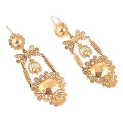 Filigree Sicilian Earrings 12 Karat Yellow Gold