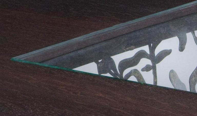 Modern Filigree Steel and Wenge Wood Dining Table For Sale