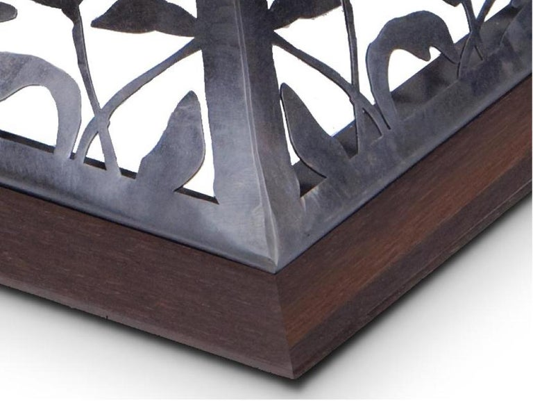 American Filigree Steel and Wenge Wood Dining Table For Sale