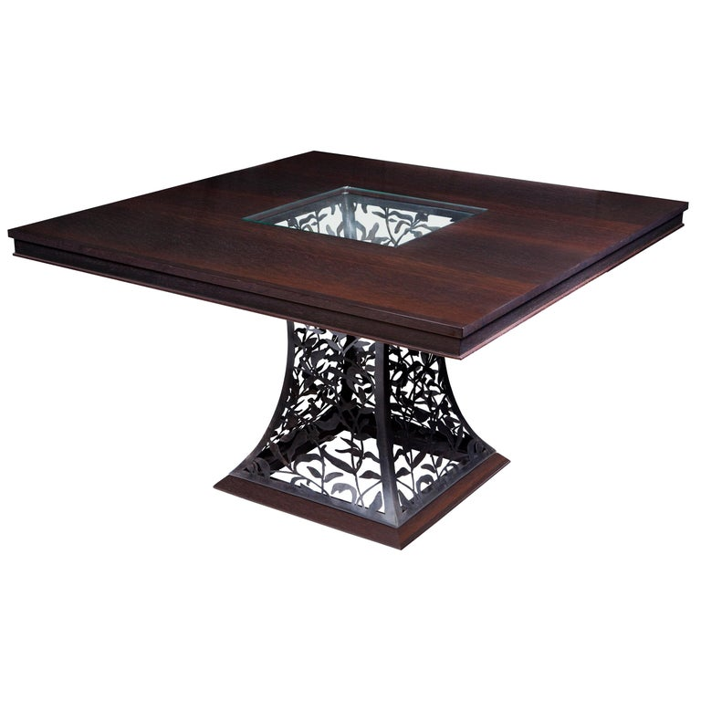 Filigree Steel and Wenge Wood Dining Table For Sale