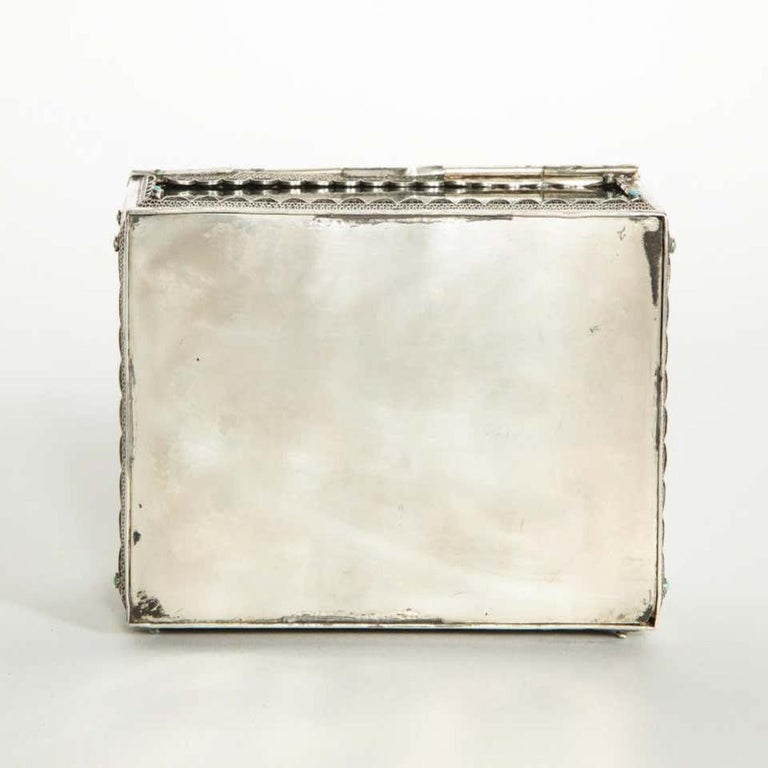 Women's or Men's Filigree Sterling Silver-Mounted Nephrite and Turquoise Rectangular Table Box For Sale