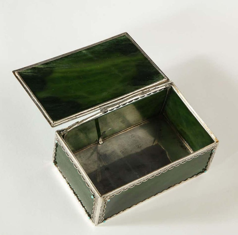 Filigree Sterling Silver-Mounted Nephrite and Turquoise Rectangular Table Box In Good Condition For Sale In New York, NY