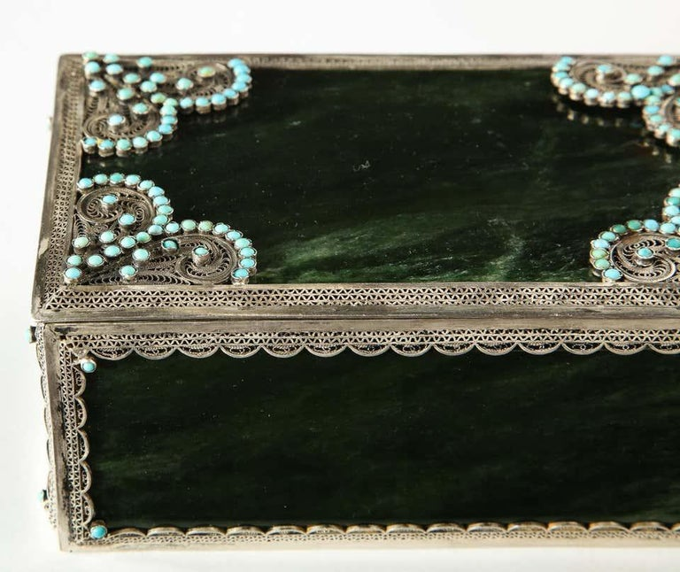 Filigree Sterling Silver-Mounted Nephrite and Turquoise Rectangular Table Box For Sale 1