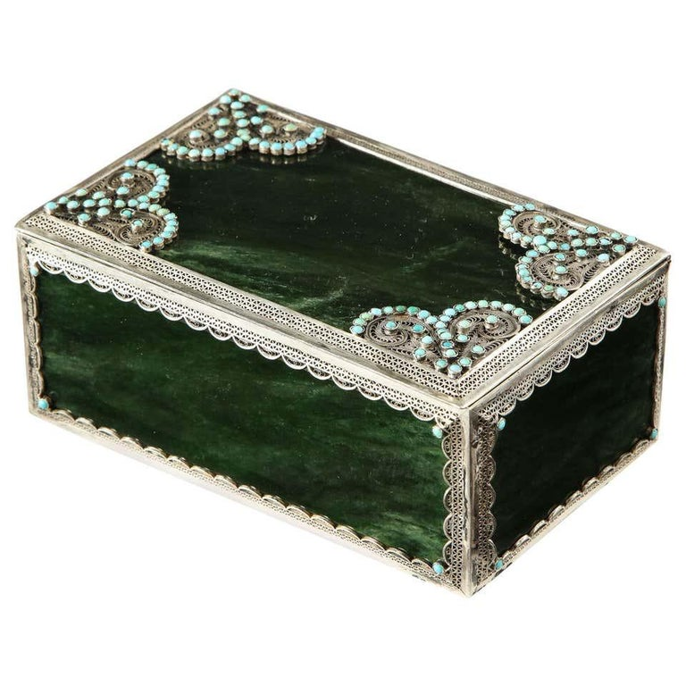 Filigree Sterling Silver-Mounted Nephrite and Turquoise Rectangular Table Box For Sale
