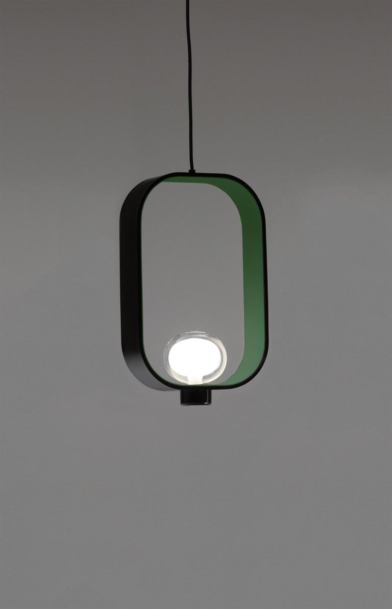 Modern 'FILIPA' Suspension Lamp in Lantern Style with Bi-Color Metal Structure For Sale