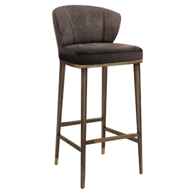 Filipe VI Bar Chair with Aged Brass  For Sale