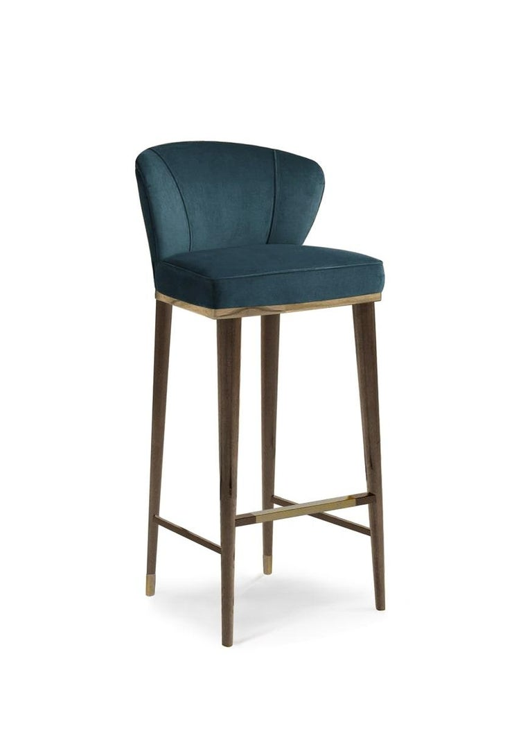 Art Deco Filipe VI Bar Chair with Aged Brass  For Sale