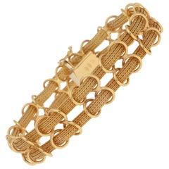 Filippini Fratelli Double Woven Chain Link Bracelet in 18 Karat Yellow Gold