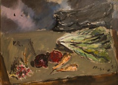 Still Life with Salad and a Bunch of Radishes-Oil on Canvas by F. De Pisis-1941
