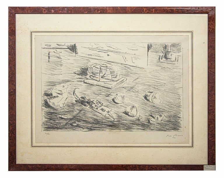 Still Life is an original artwork realized by Filippo De Pisis in the 1940s.  Original black and white lithograph on paper.   Hand signed on the lower right margin. Numbered on the lower left. Edition of 60.  Mint conditions (some foxings).  The