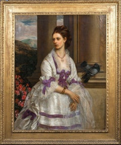 Portrait of a Lady In a White Dress with Purple Ribbons, dated 1874, London