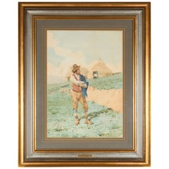 Filippo Indoni Watercolor of Country Young Man