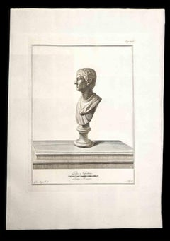 Ancient Roman Bust - Original Etching by F. Morghen - 18th century