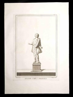 Ancient Roman Statue - Original Etching by Filippo Morghen - 18th century