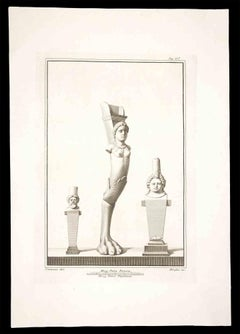 Harpy, Ancient Roman Statue - Original Etching by Filippo Morghen - 18th century