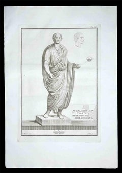 Ancient Roman Statue - Original Etching by Filippo Morghen - 1700s