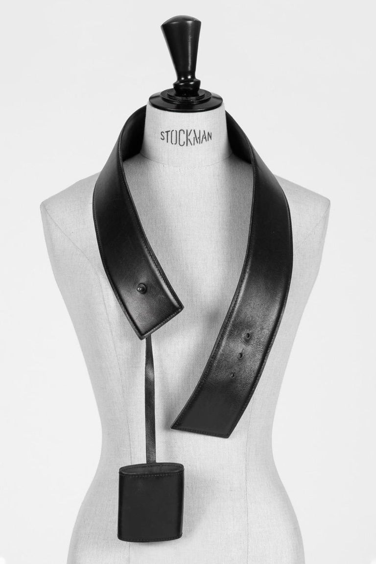Film Documented F/W 1984/85 AZZEDINE ALAÏA PARIS Black Smooth Leather Waist Belt For Sale 1