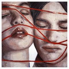 """""""Filo Rosso"""" Italian Contemporary Oil Paint by Silvia Berton, Noto Sicily, 2021"""