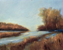 River in Autumn, Painting, Acrylic on Canvas