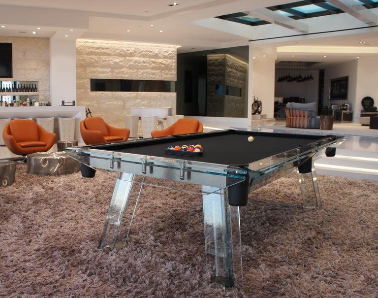 Filotto Contemporary Glass Pool Table by Impatia For Sale 4