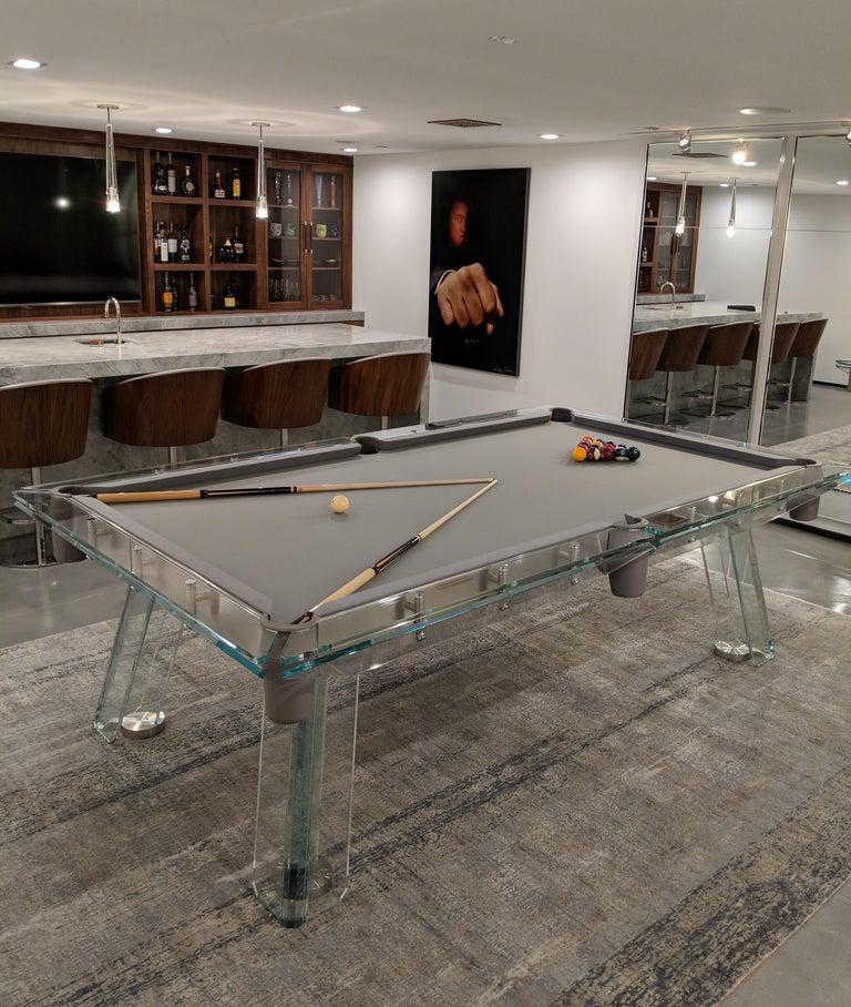 Filotto Contemporary Glass Pool Table by Impatia For Sale 5