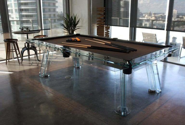 Filotto Contemporary Glass Pool Table by Impatia For Sale 6
