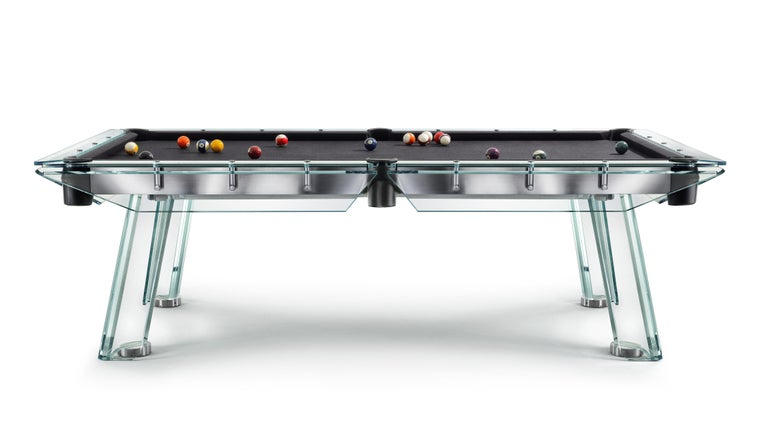 Modern Filotto Contemporary Glass Pool Table by Impatia For Sale