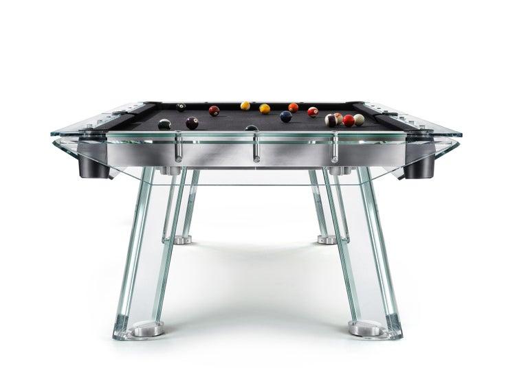 Italian Filotto Contemporary Glass Pool Table by Impatia For Sale
