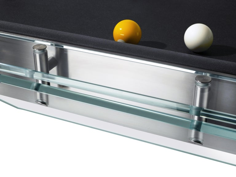 Filotto Contemporary Glass Pool Table by Impatia In New Condition For Sale In Milan, IT