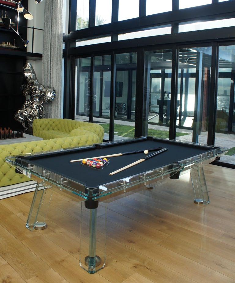 Filotto Contemporary Glass Pool Table by Impatia For Sale 1