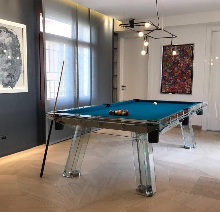 Filotto Contemporary Glass Pool Table by Impatia For Sale 2