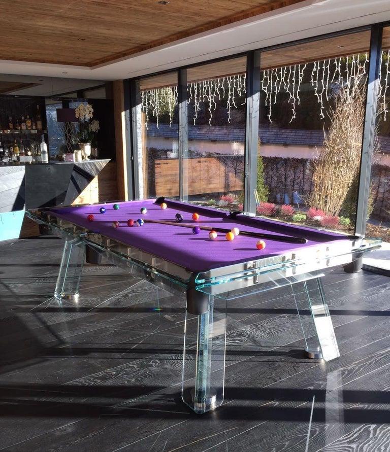 Filotto Contemporary Glass Pool Table by Impatia For Sale 3