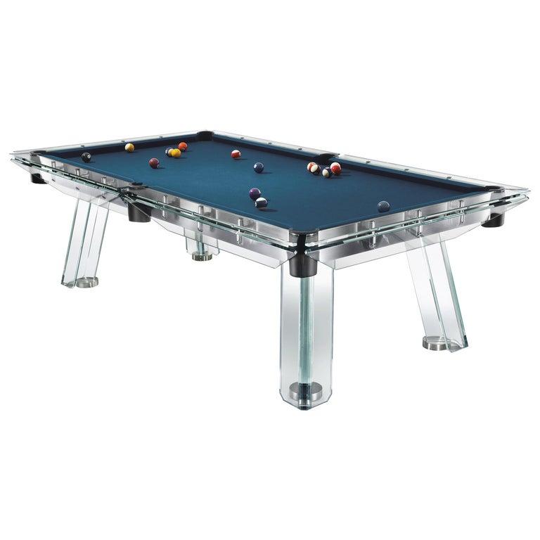 Filotto Contemporary Glass Pool Table by Impatia For Sale