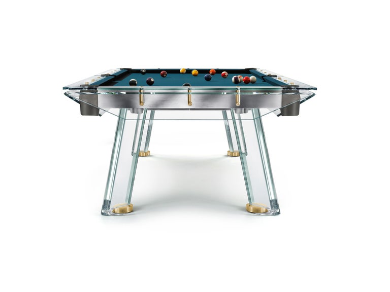 Modern Filotto Gold Edition Contemporary Glass Pool Table by Impatia For Sale