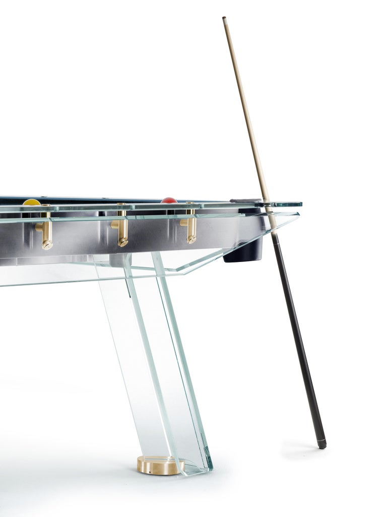 Italian Filotto Gold Edition Contemporary Glass Pool Table by Impatia For Sale