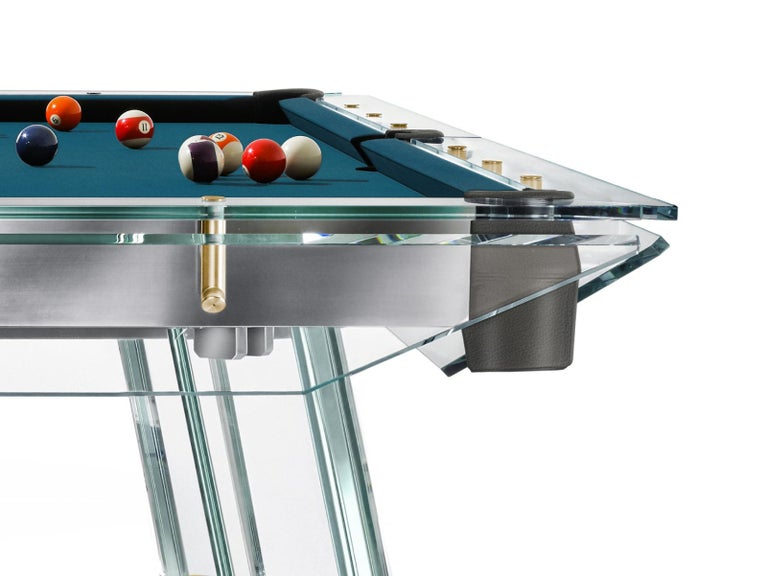 Filotto Gold Edition Contemporary Glass Pool Table by Impatia In New Condition For Sale In Milan, IT