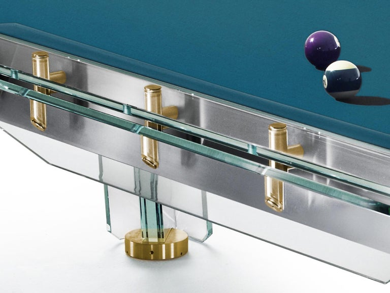 Filotto Gold Edition Contemporary Glass Pool Table by Impatia For Sale 1