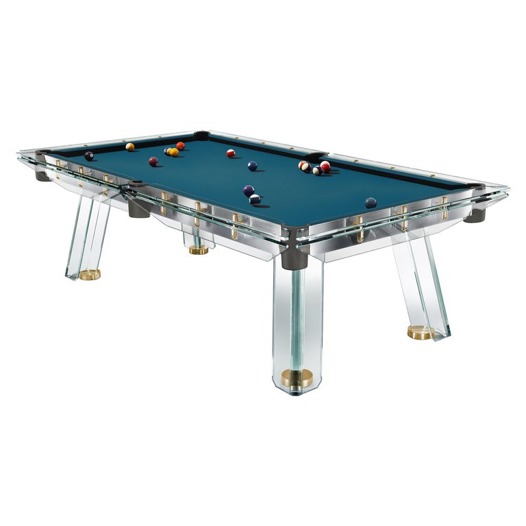 Filotto Gold Edition Contemporary Glass Pool Table by Impatia For Sale