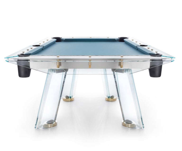 Italian Filotto Gold Modern POOL Table in Dusty Blue by Impatia For Sale
