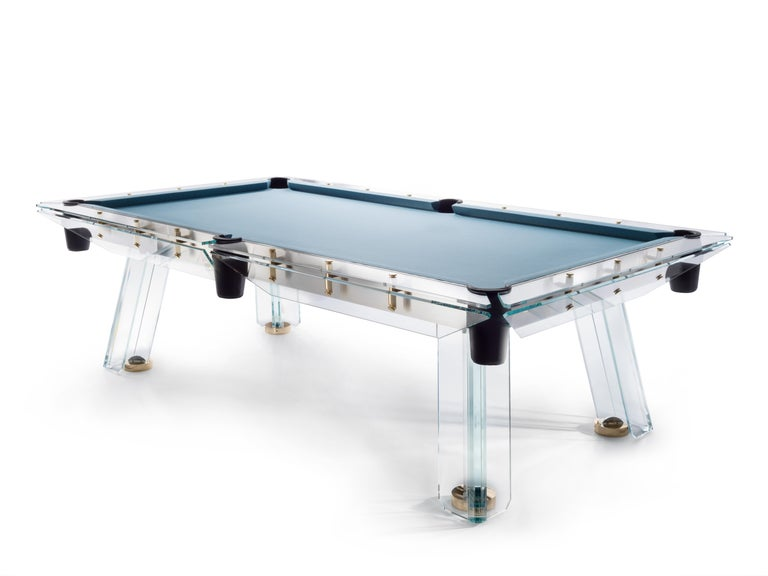 Filotto Gold Modern POOL Table in Dusty Blue by Impatia In New Condition For Sale In Milan, IT