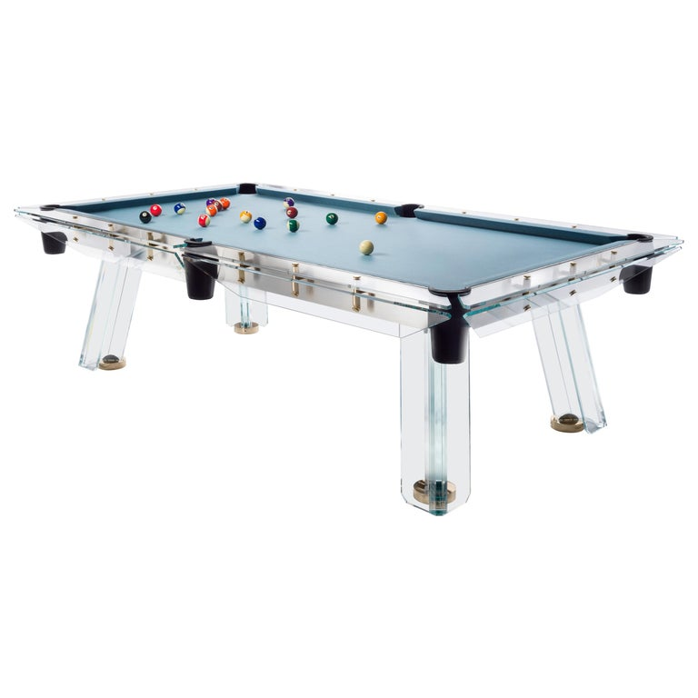 Filotto Gold Modern POOL Table in Dusty Blue by Impatia For Sale
