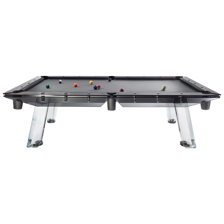 Filotto Modern Glass POOL Table with Smoked Glass and Black Nickel by Impatia For Sale