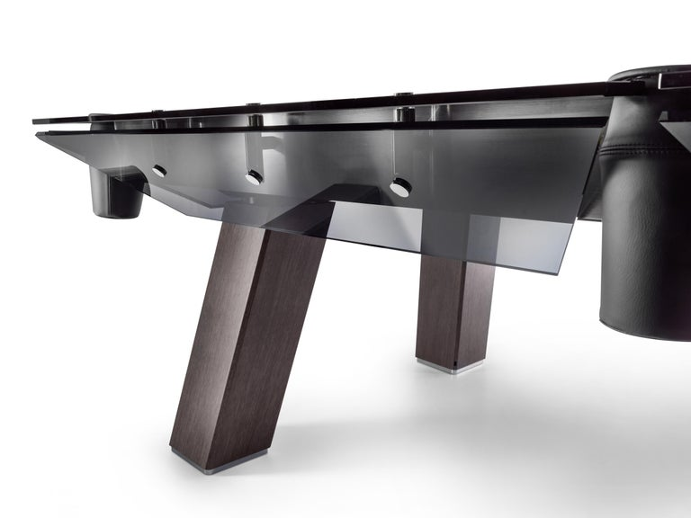 Modern Filotto Wood Edition Pool Table with Dark Oak Legs and Smoked Glass by Impatia For Sale