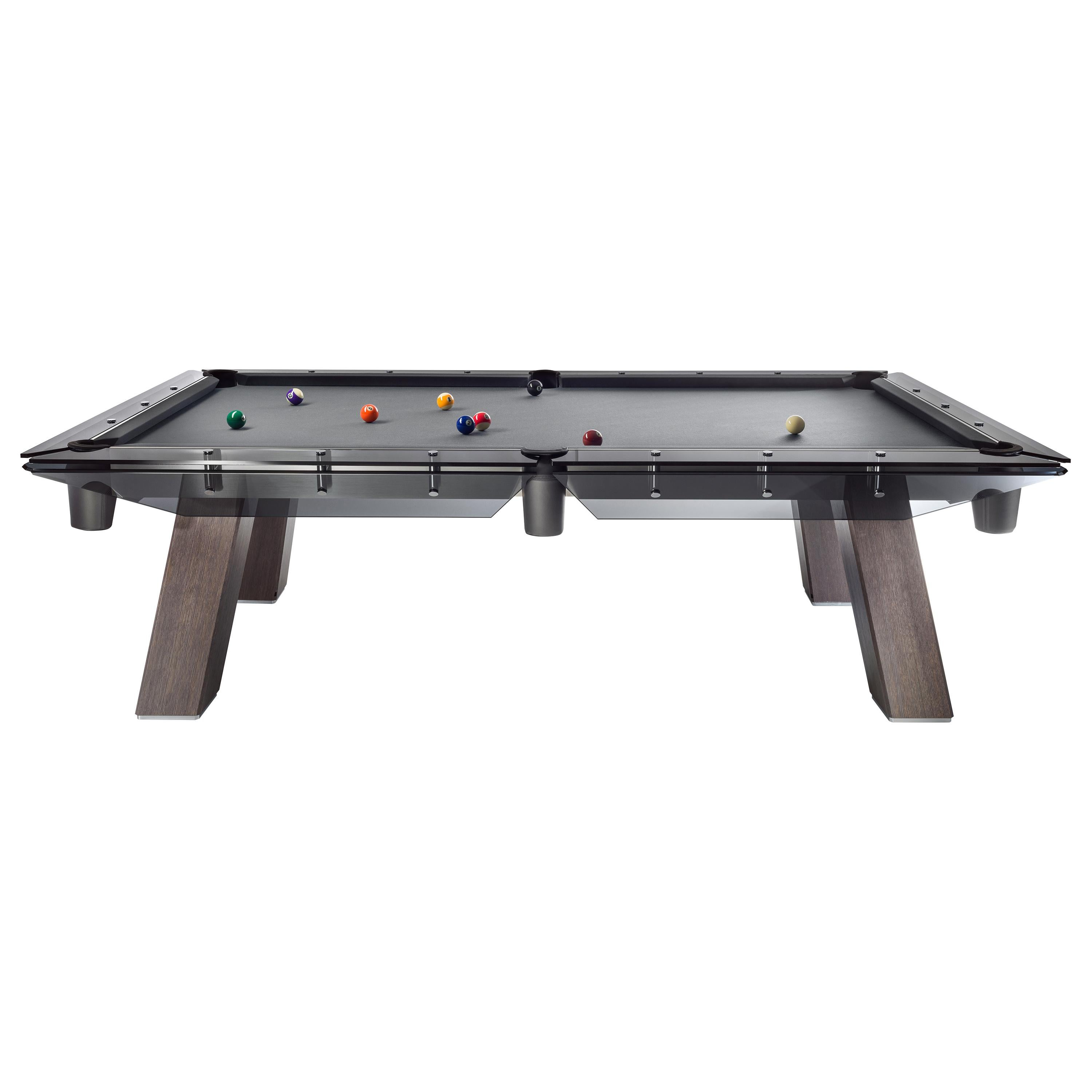 Filotto Wood Edition Pool Table with Dark Oak Legs and Smoked Glass by Impatia