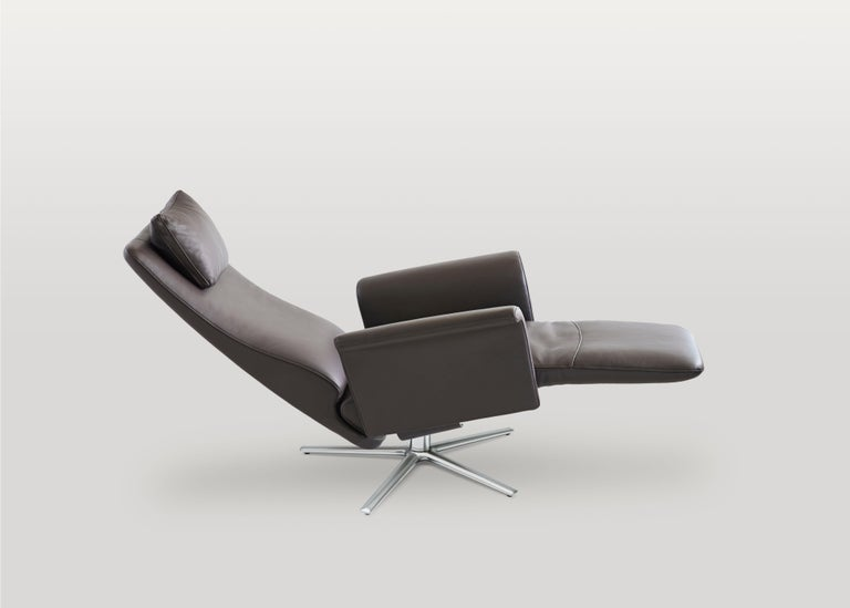 Modern Filou Adjustable Reclining Leather Easy Lounge Chair by FSM For Sale