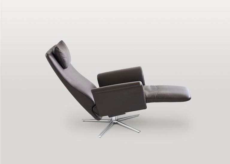 Swiss Filou Adjustable Reclining Leather Easy Lounge Chair by FSM For Sale