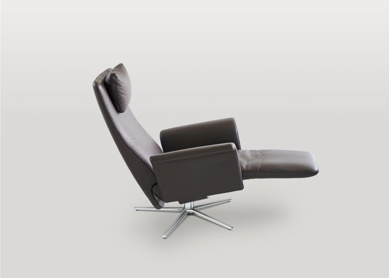 Filou Adjustable Reclining Leather Easy Lounge Chair by FSM In New Condition For Sale In New York, NY