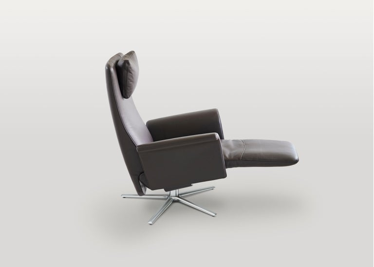 Contemporary Filou Adjustable Reclining Leather Easy Lounge Chair by FSM For Sale