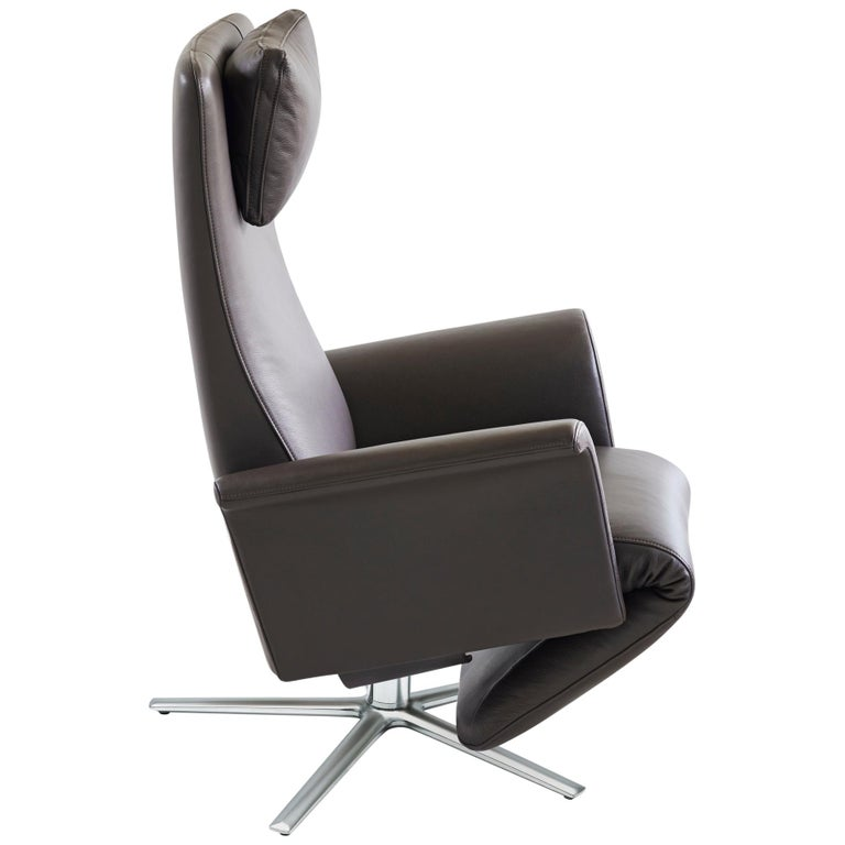 For Sale: Gray (Umbra) Filou Adjustable Reclining Leather Easy Lounge Chair by FSM